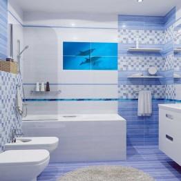 Фототапет за баня Двойка делфини - правоъгълни плочки