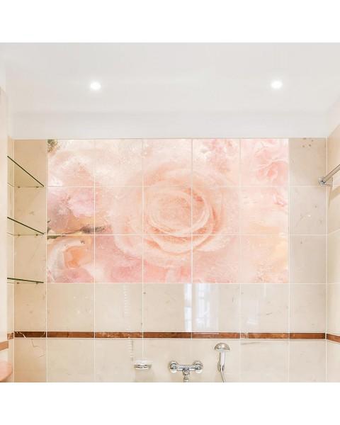 Декоративно пано от водоустойчиви стикери Роза - за квадратни плочки