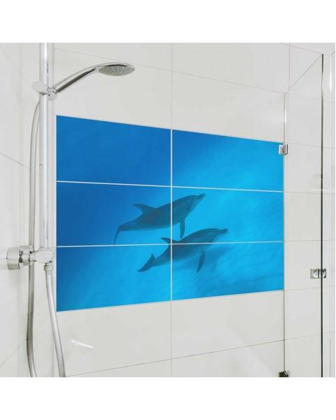Фототапет за баня Двойка делфини от водоустойчиви стикери - за правоъгълни плочки