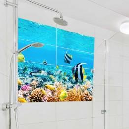 Фототапет за баня Морско дъно - правоъгълни плочки
