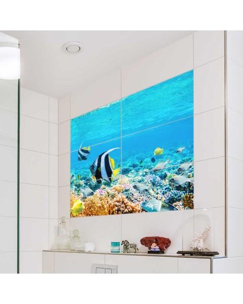 Фототапет за баня Морско дъно от водоустойчиви стикери - за правоъгълни плочки