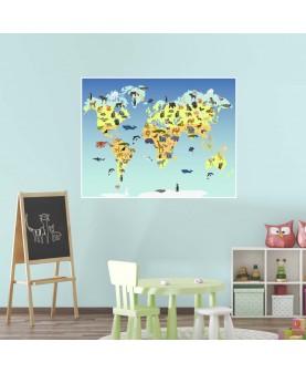 Карта на света с животни 2