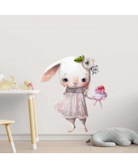 Зайче със сладкиш - стикер за стена