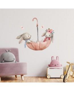 Горски зайчета Херси - Разходка с чадърче, стикер