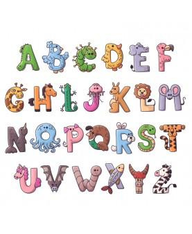 Англйска азбука с животни - цветни