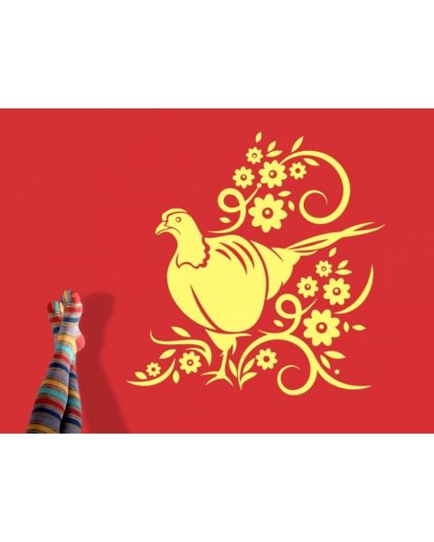 Райска птица сред цветни стъбла