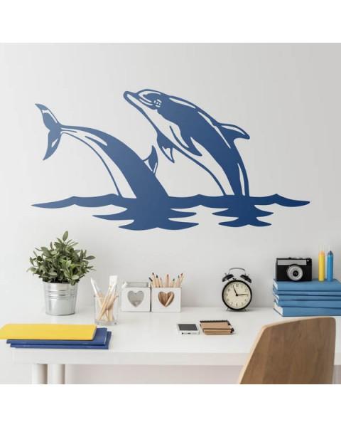 Двойка делфини - декоративен стикер