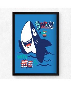 Акула 1 - Swim With Me, постер с рамка