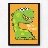 Зелен динозавър - Hello There, постер с рамка