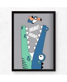 Крокодил - Miam Miam, постер с рамка