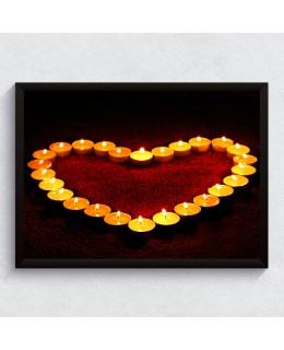 Романтични свещи - Фото принт с рамка