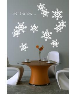 """Комплект коледни стикери със снежинки """"Let it snow..."""""""