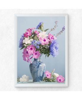 Пролетен букет в синьо - Картина