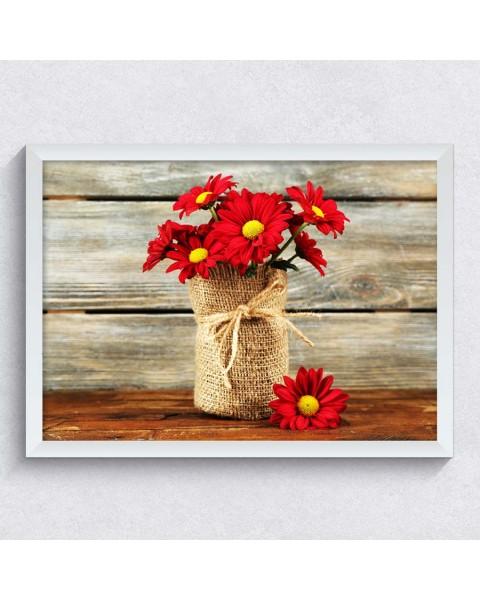 Картина с Червени Хризантеми
