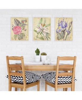Ретро цветя - триптих картини