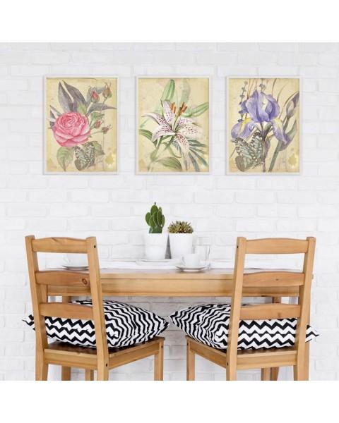 Картина с Ретро цветя - триптих картини