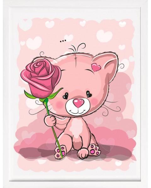 Малко коте с роза