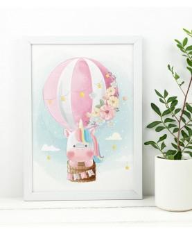 Еднорог в балон - постер с рамка