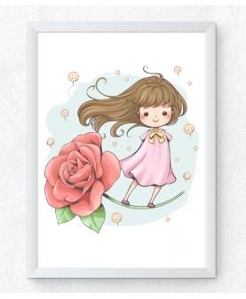 Момиченце с роза - постер с рамка