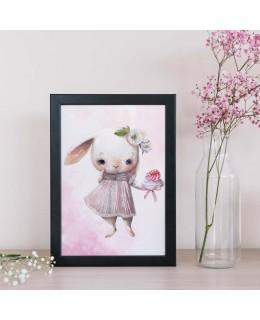 Зайче със сладкиш - постер с рамка