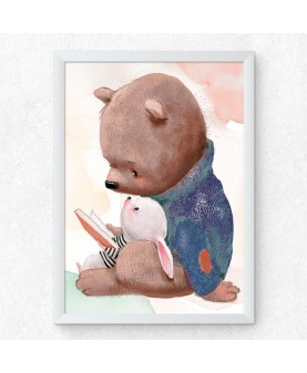Мече и зайче четат книжка, постер с рамка