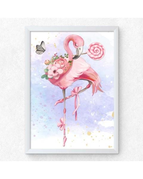 Розово фламинго, постер с рамка