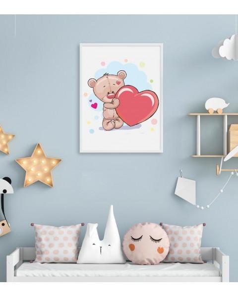 Влюбено мече - постер с рамка