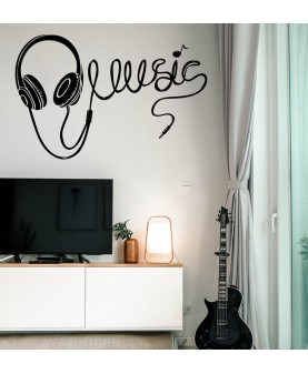 Надпис музика и слушалки