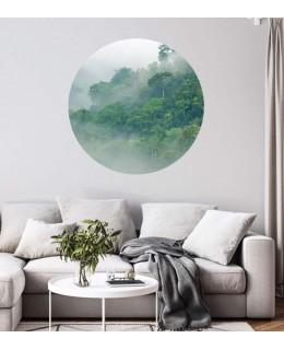 Мъгла в гората - стикер кръг