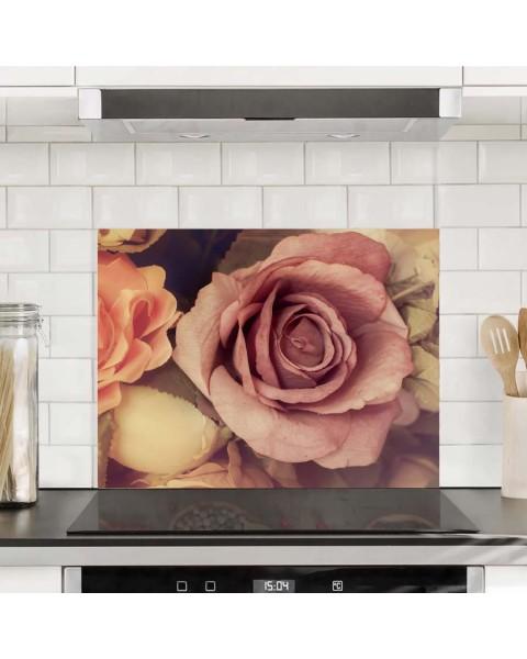 Протектор за кухня от алуминиев еталбонд с дигитален печат - Кадифени рози