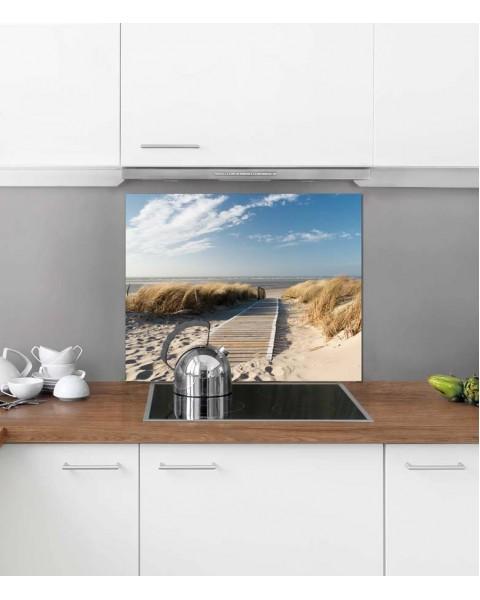 Протектор за кухня от алуминиев еталбонд с дигитален печат - Пътека към плажа