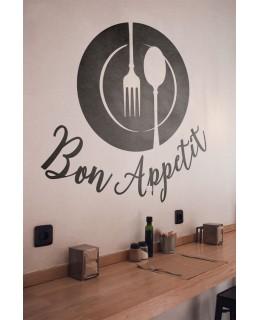 Надпис Bon Appetit и прибори