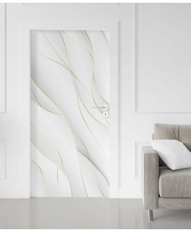 3D вълни в бяло - стикер за врата