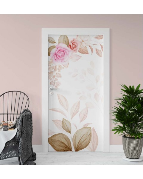 Акварелни рози - стикер за врата
