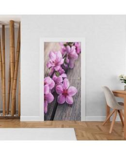 Розови цветчета - стикер за врата