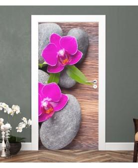 Спа камъни и орхидея - стикер за врата