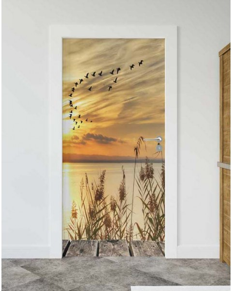 Залез на брега - стикер за врата